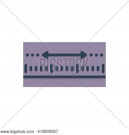 Color Illustration Icon For Yardage Measurement Meterage Dimension Ruler Inch Centimeter