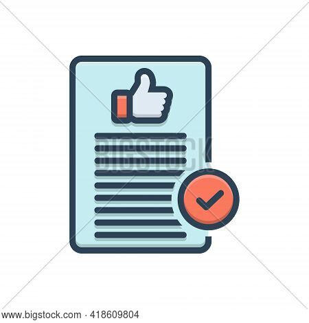 Color Illustration Icon For Acceptable Admissible Agreeable Approval Thumb Ok