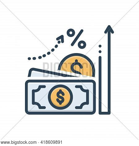 Color Illustration Icon For Accrual Currency Wage Cash
