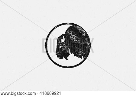 Silhouette Head Of Wild Buffalo Or Bison As Symbol Of Nature Exploration Hand Drawn Stamp Effect Vec