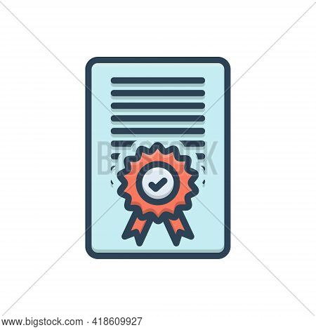 Color Illustration Icon For Accreditation Certificate Diploma Document Accepted Confirmation