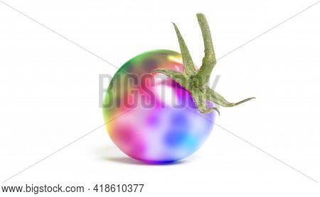 Close Up Of A Weird Cherry Tomato With Leaf Isolated On White Background