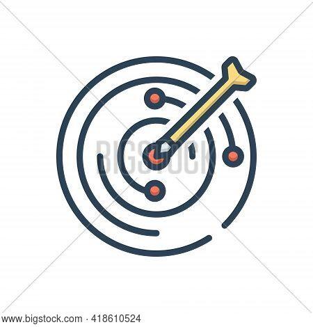 Color Illustration Icon For Objective Target Goal Aim  Challenge Achievement