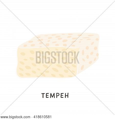 Sliced Tempeh Piece. Vegan Organic Fermented Soybeans. Soy Cheese Isolated On White Background. Flat