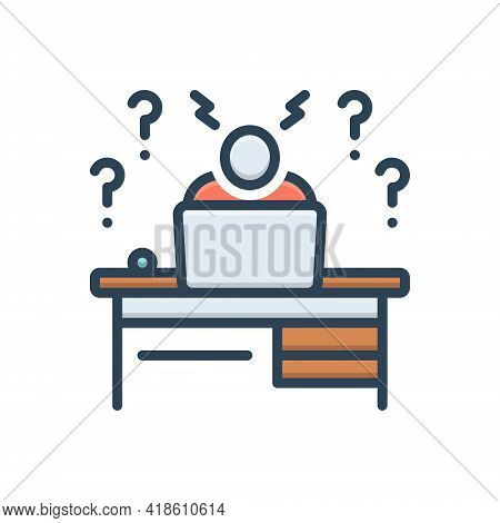 Color Illustration Icon For Agonize Dither Gape Discomfort Uneasiness Malaise Workpressure