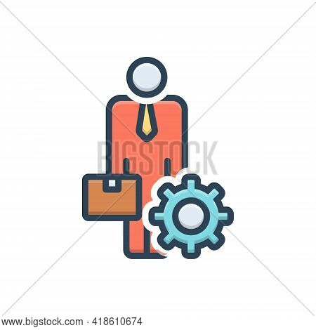 Color Illustration Icon For Ancillary Helper Subsidiary Auxiliary Accessory
