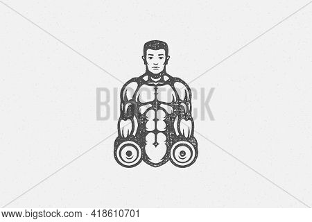 Muscular Sportsman With Dumbbells Silhouette Hand Drawn Stamp Vector Illustration.