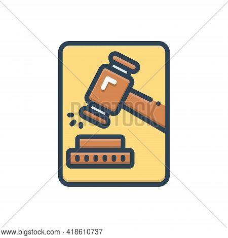 Color Illustration Icon For Adjudicate Justice Lawsuits  Tribunal  Hammer Proceeding Senten Decide A