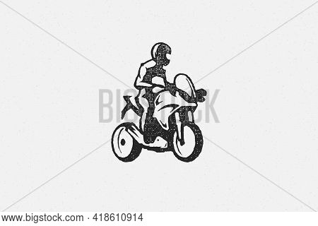 Man Rider On Superbike Motorcycle Silhouette Hand Drawn Ink Stamp Vector Illustration.