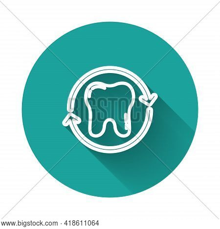 White Line Tooth Whitening Concept Icon Isolated With Long Shadow. Tooth Symbol For Dentistry Clinic