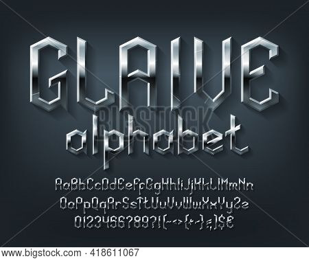 Glaive Alphabet Font. Scratched Metal Medieval Letters, Numbers And Symbols. Uppercase And Lowercase