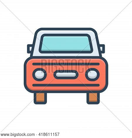 Color Illustration Icon For Auto Vehicle Conveyance Carriage Car