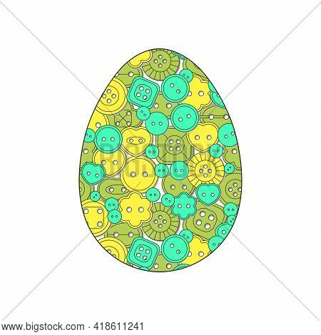 Easter Egg And Buttons For Sewing. The Concept Of Needlework And Clothing Production. Vector Illustr