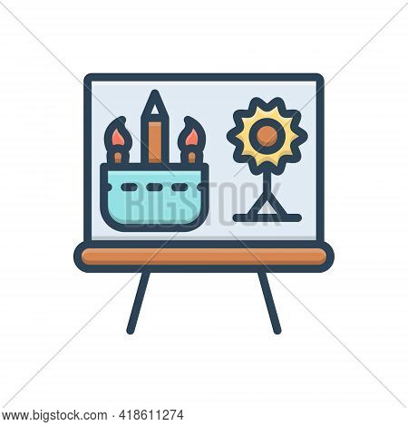 Color Illustration Icon For Drawing Sketch Draft  Creativity  Creative Painting