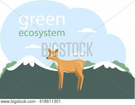 Eco Friendly, Save Environment, Nature Conservation. Deer On Abstract Background. Caring For Green E