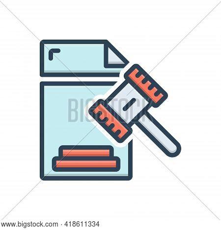 Color Illustration Icon For Legal Legitimate Lawful Juristic Juridical Licit Statutory