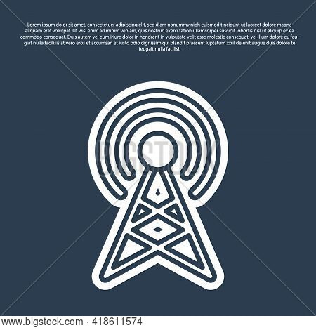 Blue Line Antenna Icon Isolated On Blue Background. Radio Antenna Wireless. Technology And Network S