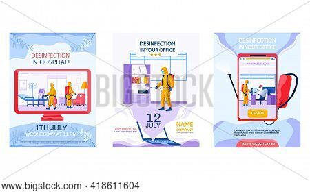 Set Of Illustrations About Disinfection Of Premises And Provision Of Sanitary Services. Man In Prote