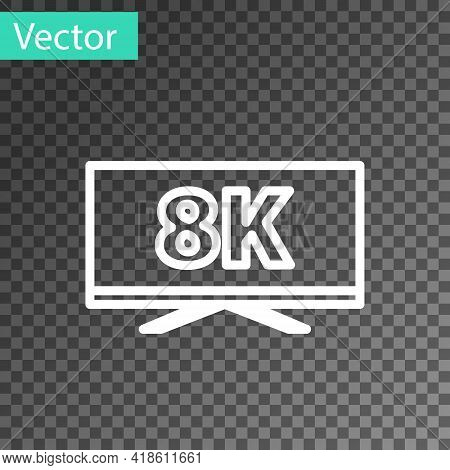 White Line Screen Tv With 8k Ultra Hd Video Technology Icon Isolated On Transparent Background. Vect