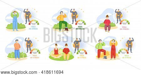 Set Of Illustrations About Outdoor Sports. Changes In Immunity Levels Due To Lifestyle Of Characters