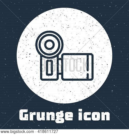 Grunge Line Cinema Camera Icon Isolated On Grey Background. Video Camera. Movie Sign. Film Projector