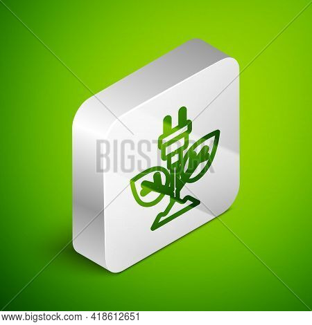 Isometric Line Electric Saving Plug In Leaf Icon Isolated On Green Background. Save Energy Electrici