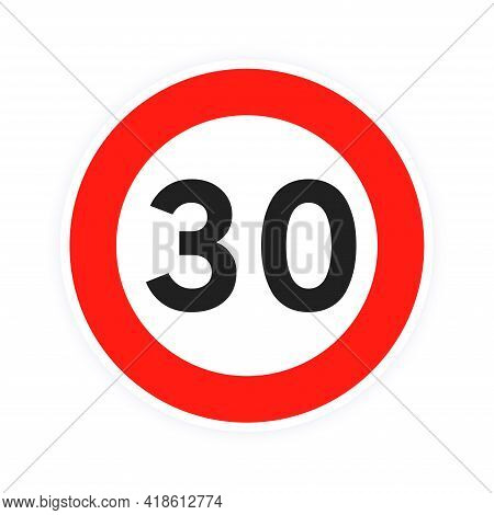 Speed Limit 30 Round Road Traffic Icon Sign Flat Style Design Vector Illustration Isolated On White