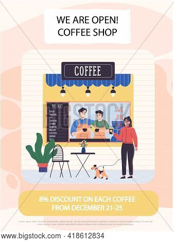 Announcement Of Discounts In Cafe With Drinks. Opening Of New Coffee Shop Concept Poster. People Wor