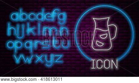 Glowing Neon Line Sangria Icon Isolated On Brick Wall Background. Traditional Spanish Drink. Neon Li