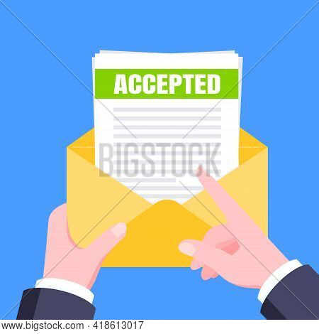 College Or University Acceptance Letter With Envelope And Paper Sheets Document Email. Job Employmen