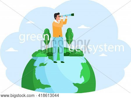 Take Care About Green Planet. Nature And Ecology Modern Graphic Design Poster. Man With Spyglass Sta