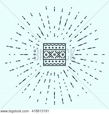 Black Line Ukrainian Ethnic Pattern For Embroidery Icon Isolated On Grey Background. Traditional Fol