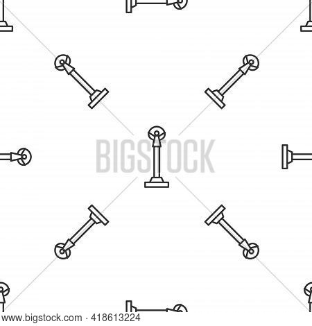 Grey Line Monument Of Independence In Kiev Icon Isolated Seamless Pattern On White Background. Kyiv,