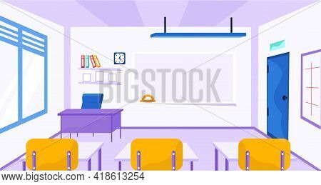School Classroom With Chalkboard And Desks. Class For Education With Board, Tables For Students. Dif
