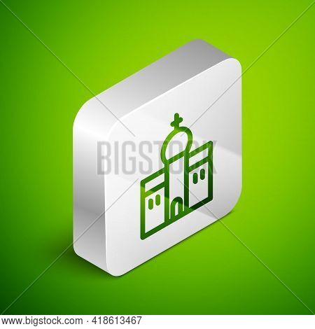 Isometric Line Church Building Icon Isolated On Green Background. Christian Church. Religion Of Chur