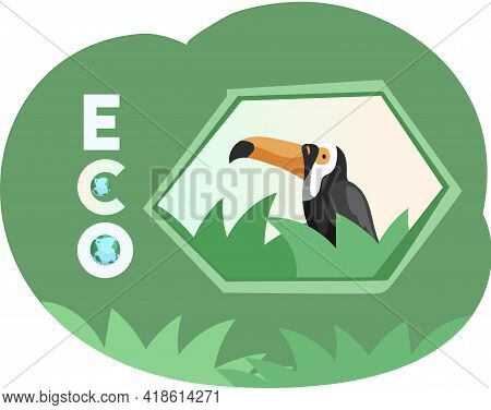 Eco Friendly, Nature Conservation, Environmental Protection. Toucan On Abstract Background With Leav