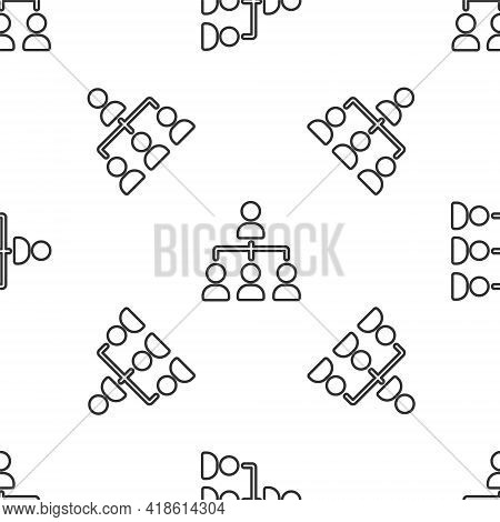 Grey Line Business Hierarchy Organogram Chart Infographics Icon Isolated Seamless Pattern On White B