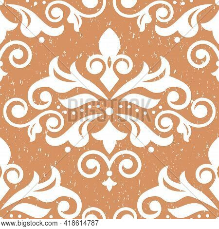 Retro Arabic Damask Fabric Print Pattern On Vintage Scratched Background, Textile Vector Seamless De