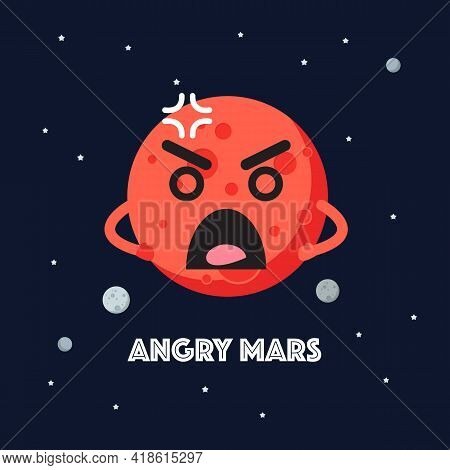 Angry Mars Character Emoticon On Space Background. Star And Planets On Galaxy Background. Flat Style