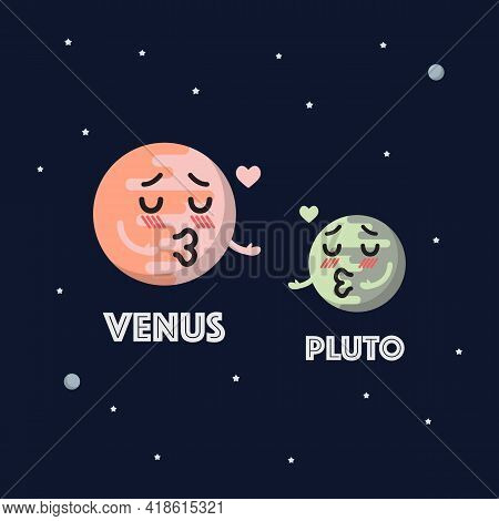 Venus In Love With Pluto Character Emoticon On Space Background. Star And Planets On Galaxy Backgrou