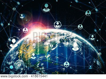People Network And Global Earth Connection In Innovative Perception . Business People With Modern Gr