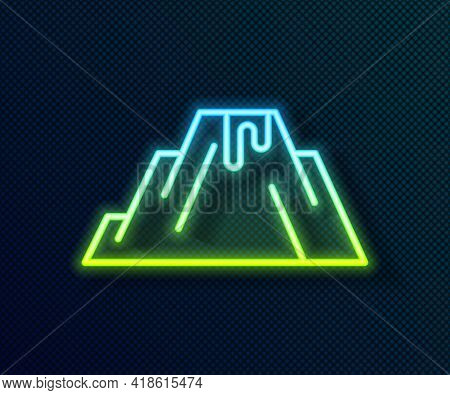 Glowing Neon Line Volcano Eruption With Lava Icon Isolated On Black Background. Vector