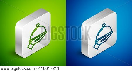 Isometric Line Covered With A Tray Of Food Icon Isolated On Green And Blue Background. Tray And Lid
