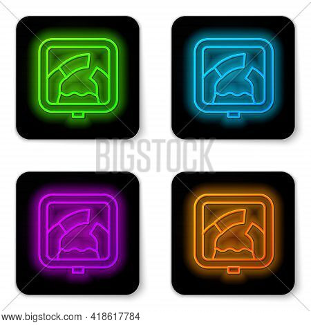 Glowing Neon Line Drawbridge Ahead Icon Isolated On White Background. Information Road Sign. Black S