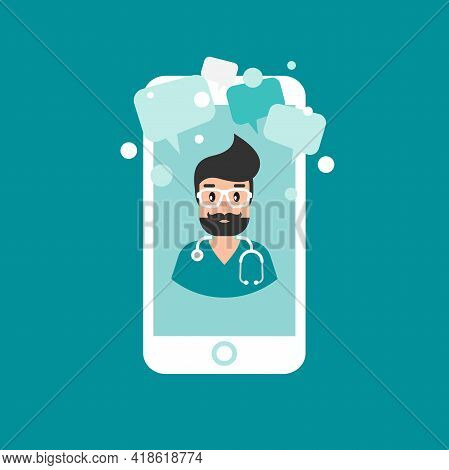 Doctor On The Phone Screen. Medical Internet Consultation. Healthcare Consulting Web Service. Hospit