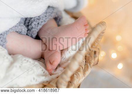 Feet of a newborn in a soft blanket