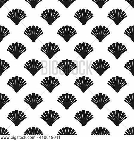 Seamless Pattern With Sea Shell On White Background. Shellfish Ornament. Beauty And Luxury Spa Conce