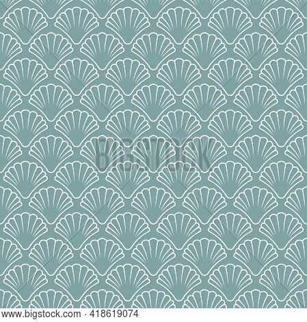 Seamless Pattern With Sea Shell On Powder Blue Background. Shellfish Ornament. Beauty And Luxury Spa