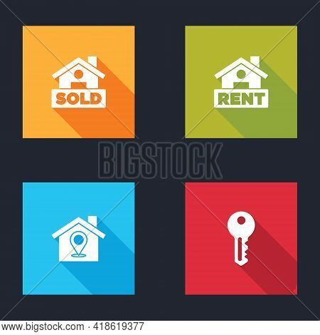 Set Hanging Sign With Text Sold, Rent, Location House And House Key Icon. Vector