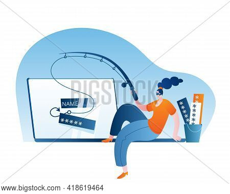 A Girl In A Mask Sits On A Laptop And Catches The Users Passwords On A Hook. Concept Of A Vector Ill